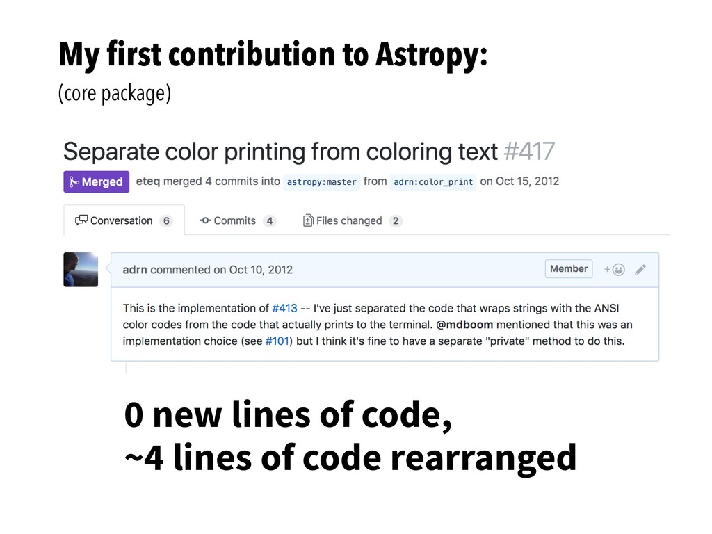 My first contribution to Astropy: (core package)...