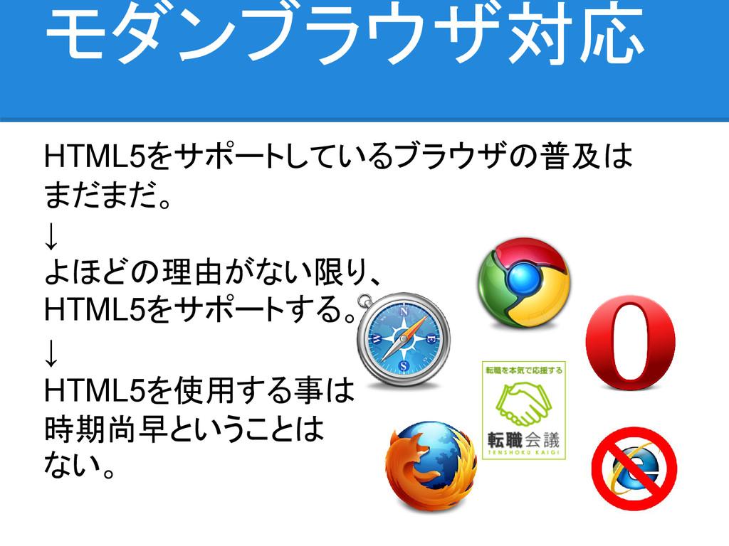 モダンブラウザ対応 HTML5をサポートしているブラウザの普及は まだまだ。 ↓ よほどの理由...
