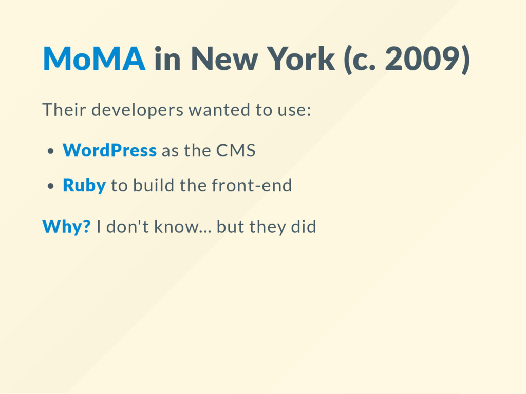 MoMA in New York (c. 2009) Their developers wan...