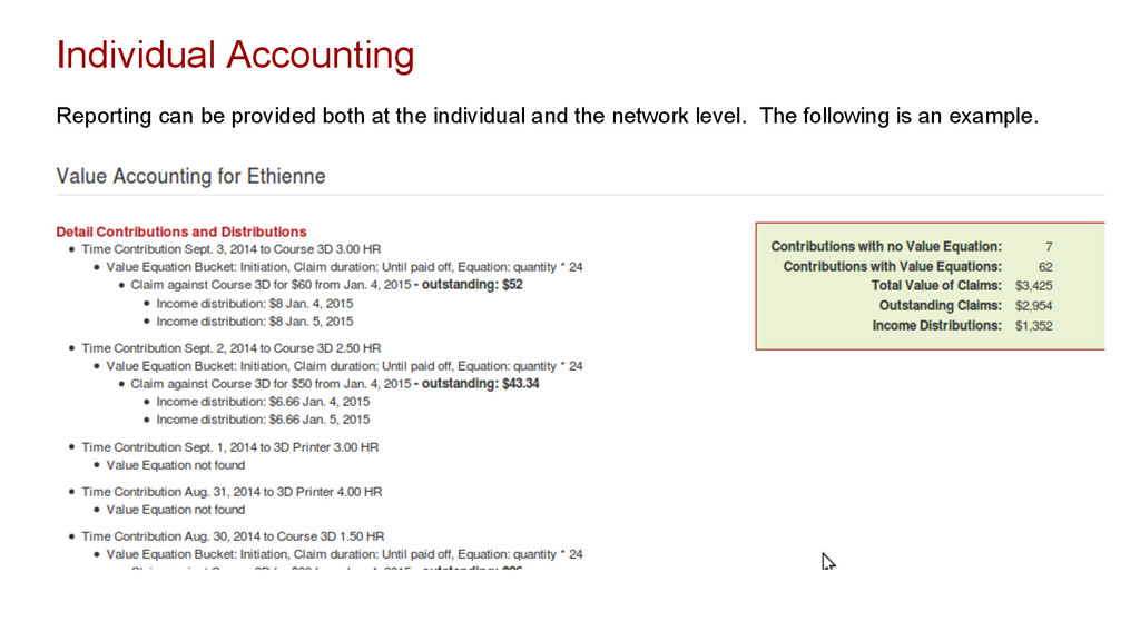 Individual Accounting Reporting can be provided...