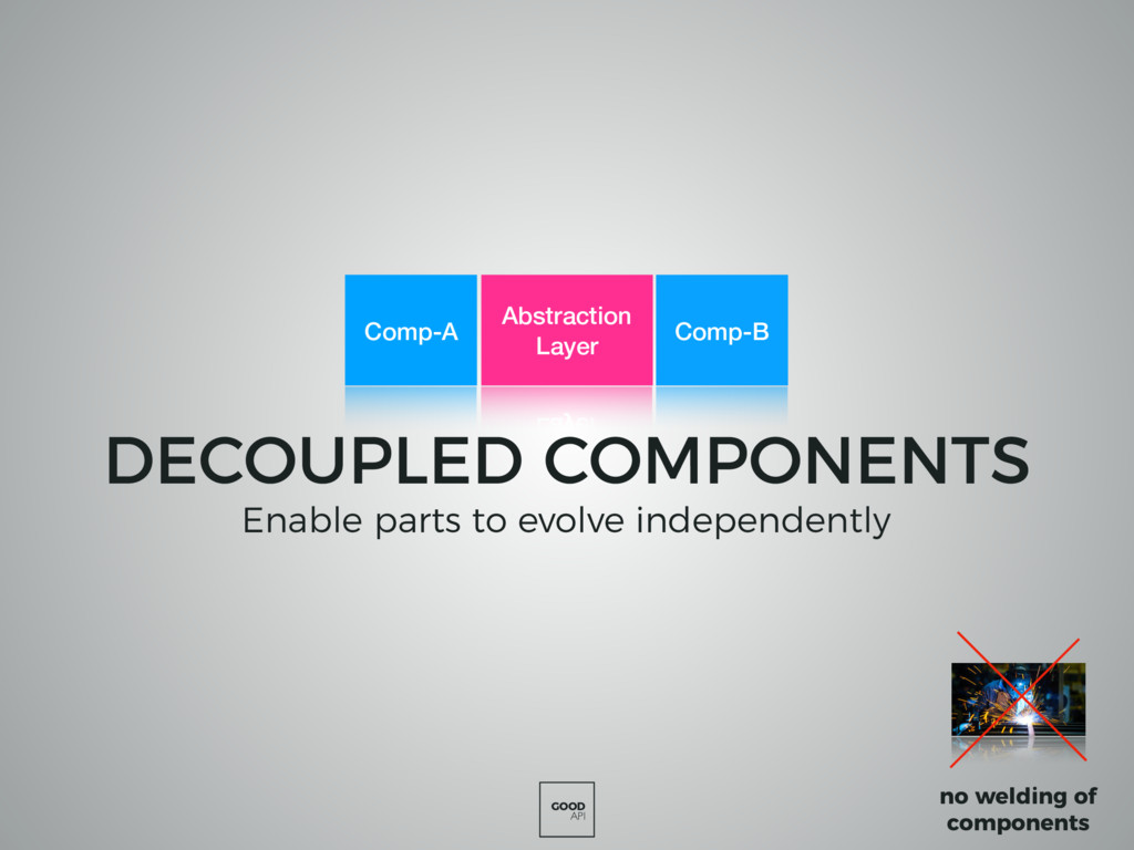 GOOD API DECOUPLED COMPONENTS Enable parts to e...