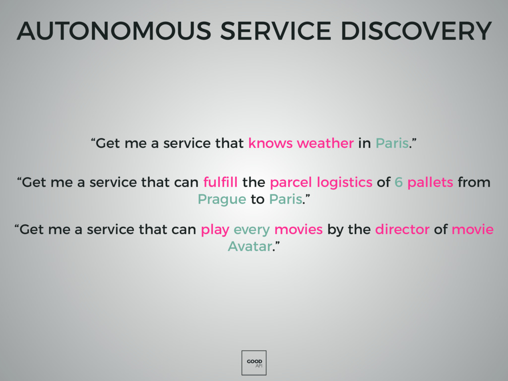 """GOOD API AUTONOMOUS SERVICE DISCOVERY """"Get me a..."""