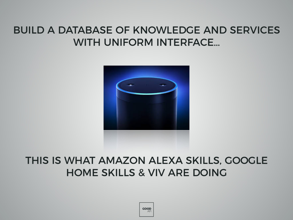 GOOD API THIS IS WHAT AMAZON ALEXA SKILLS, GOOG...