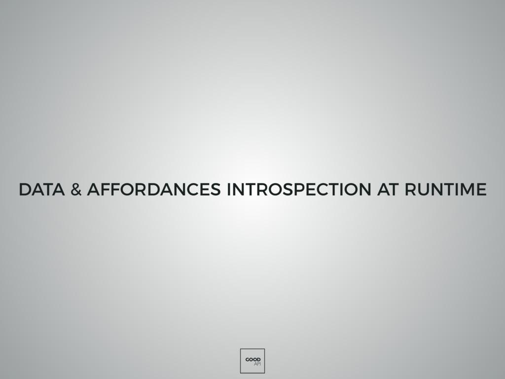GOOD API DATA & AFFORDANCES INTROSPECTION AT RU...
