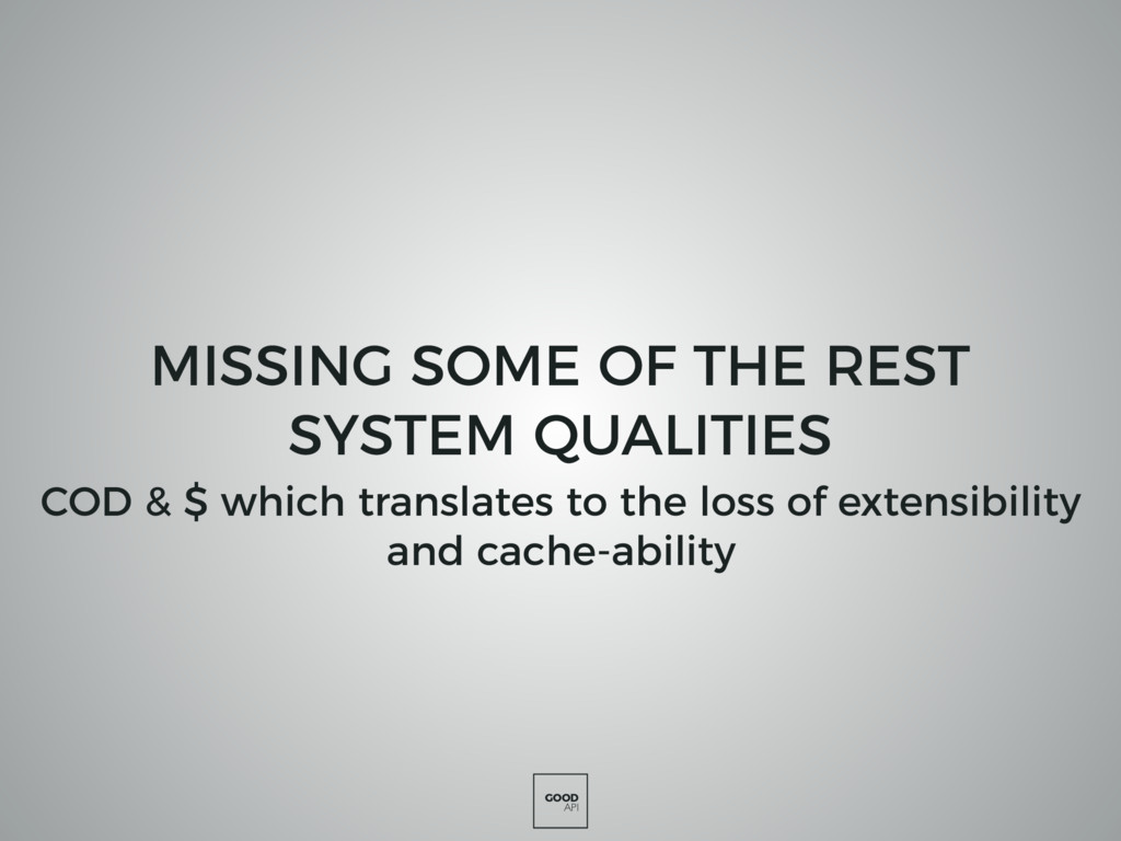 GOOD API MISSING SOME OF THE REST SYSTEM QUALIT...
