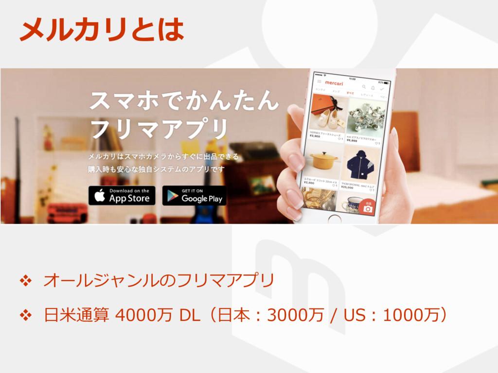 メルカリとは v オールジャンルのフリマアプリ v ⽇⽶通算 4000万 DL(⽇本:3000...