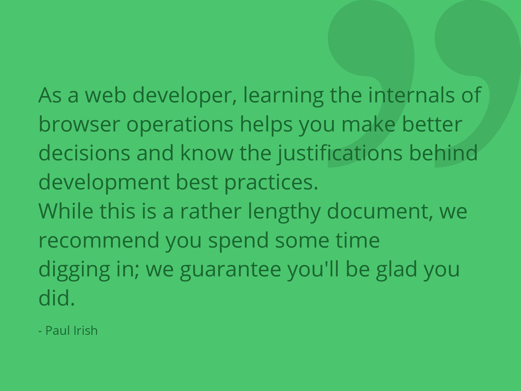 ❞ As a web developer, learning the internals of...