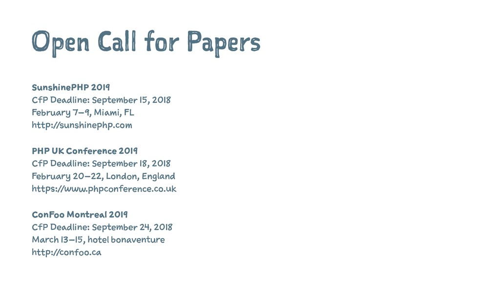 Open Call for Papers SunshinePHP 2019 CfP Deadl...