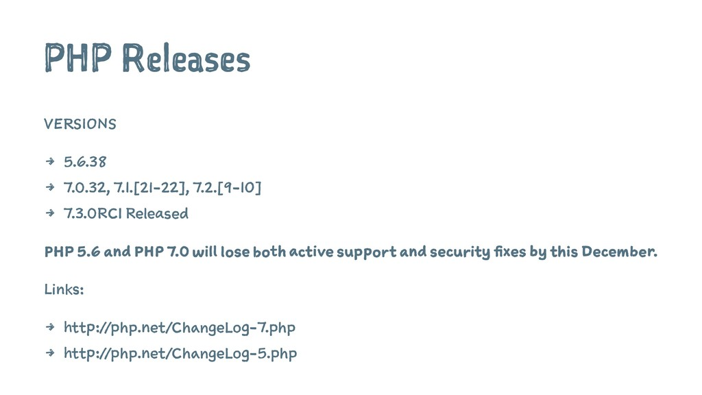 PHP Releases VERSIONS 4 5.6.38 4 7.0.32, 7.1.[2...
