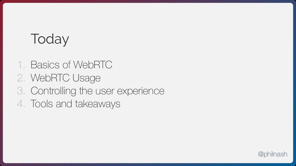 Today 1. Basics of WebRTC 2. WebRTC Usage 3. Co...