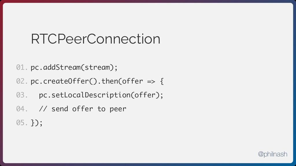 RTCPeerConnection pc.addStream(stream); pc.crea...