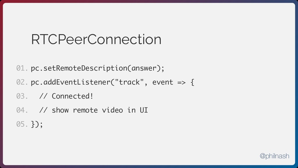 RTCPeerConnection pc.setRemoteDescription(answe...