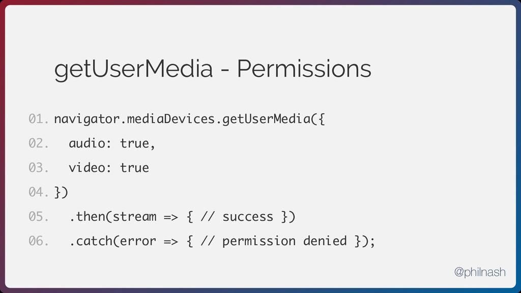 getUserMedia - Permissions navigator.mediaDevic...