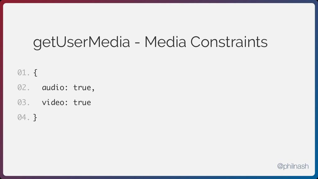 getUserMedia - Media Constraints { audio: true,...