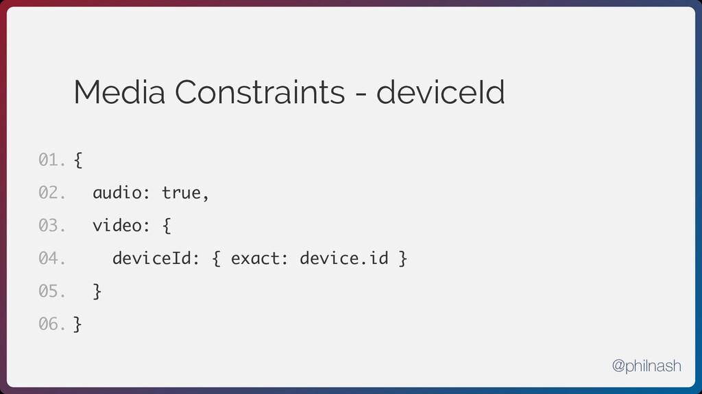 Media Constraints - deviceId { audio: true, vid...