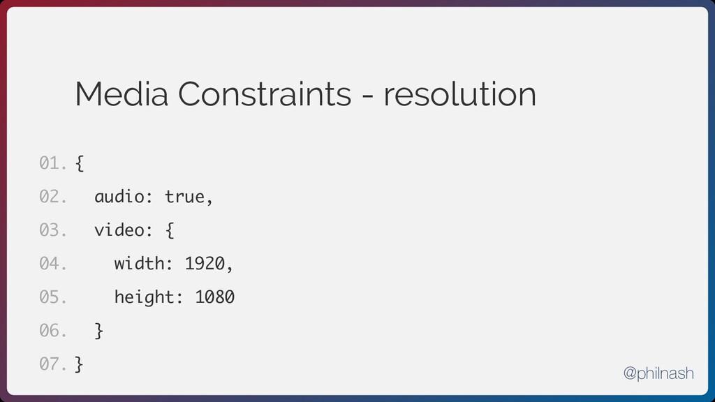 Media Constraints - resolution { audio: true, v...