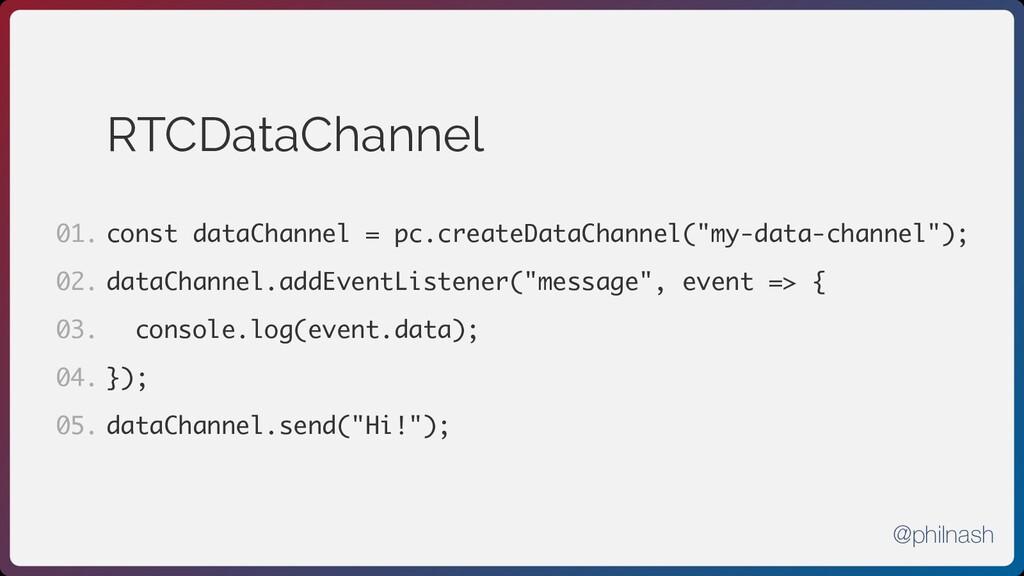 RTCDataChannel const dataChannel = pc.createDat...