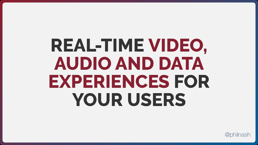 REAL-TIME VIDEO, AUDIO AND DATA EXPERIENCES FOR...