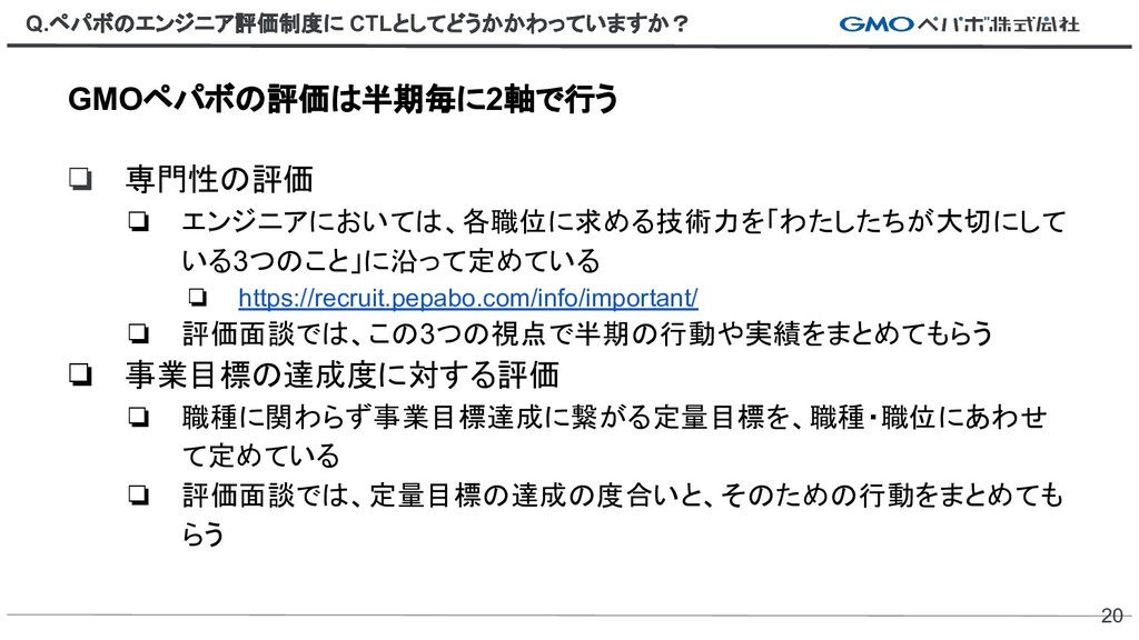 Q.ペパボのエンジニア評価制度に CTLとしてどうかかわっていますか? 20 GMOペパボの評...