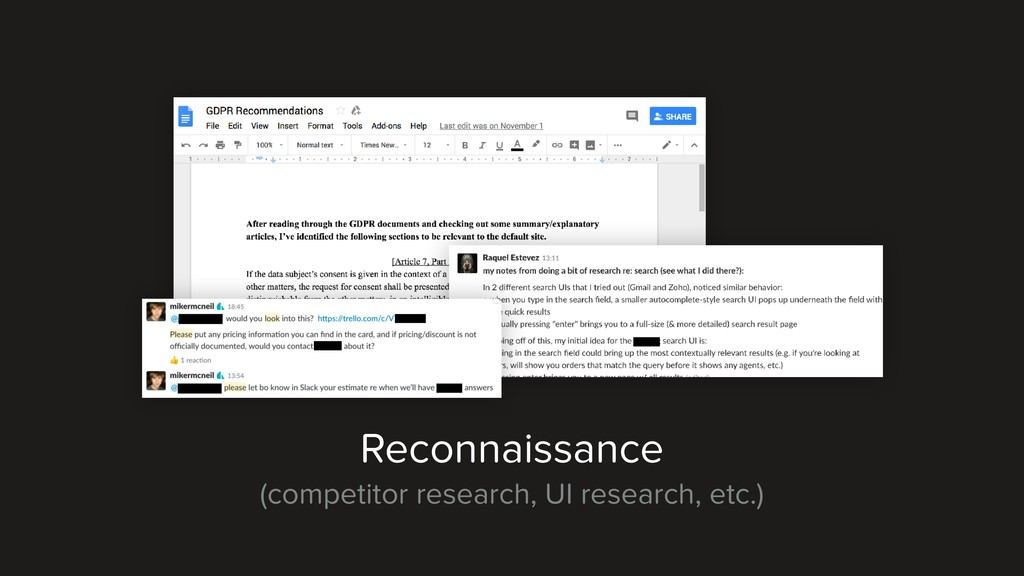 Reconnaissance (competitor research, UI researc...