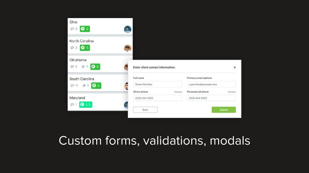 Custom forms, validations, modals