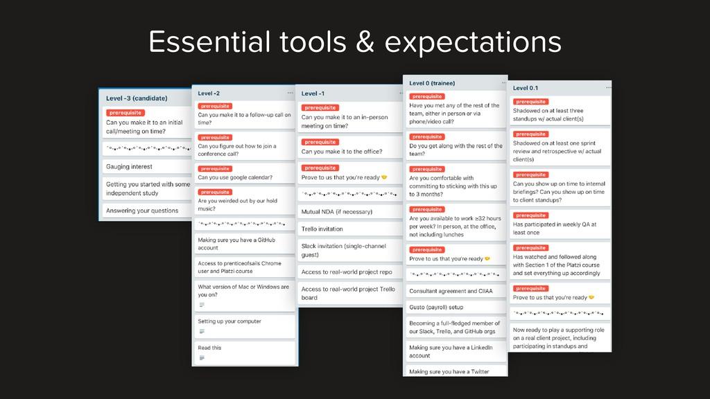 Essential tools & expectations