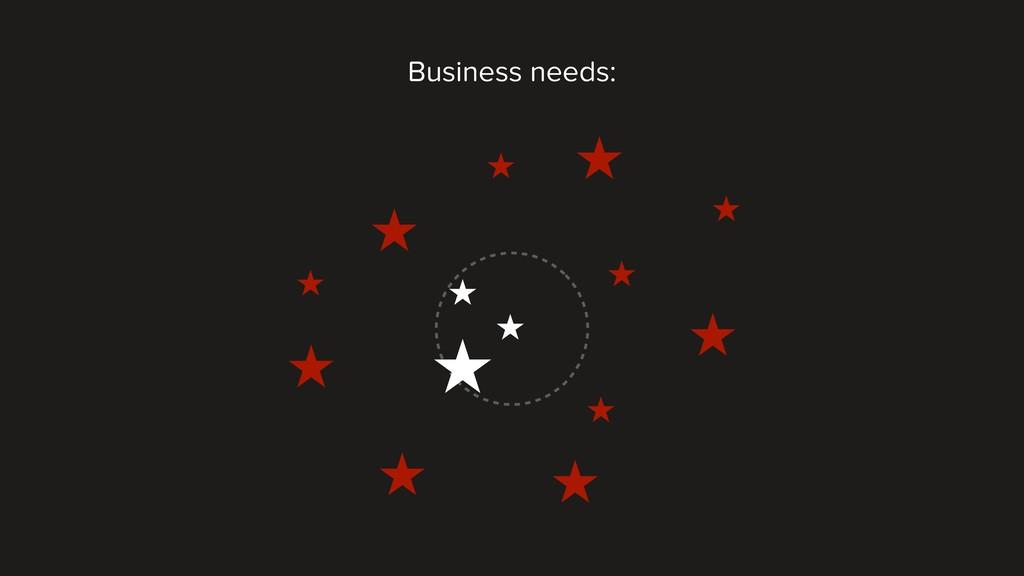 Business needs: