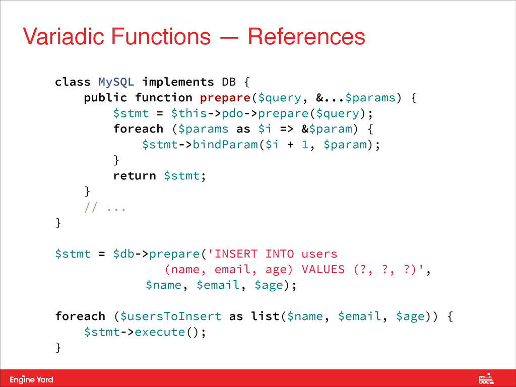 Variadic Functions — References class MySQL imp...