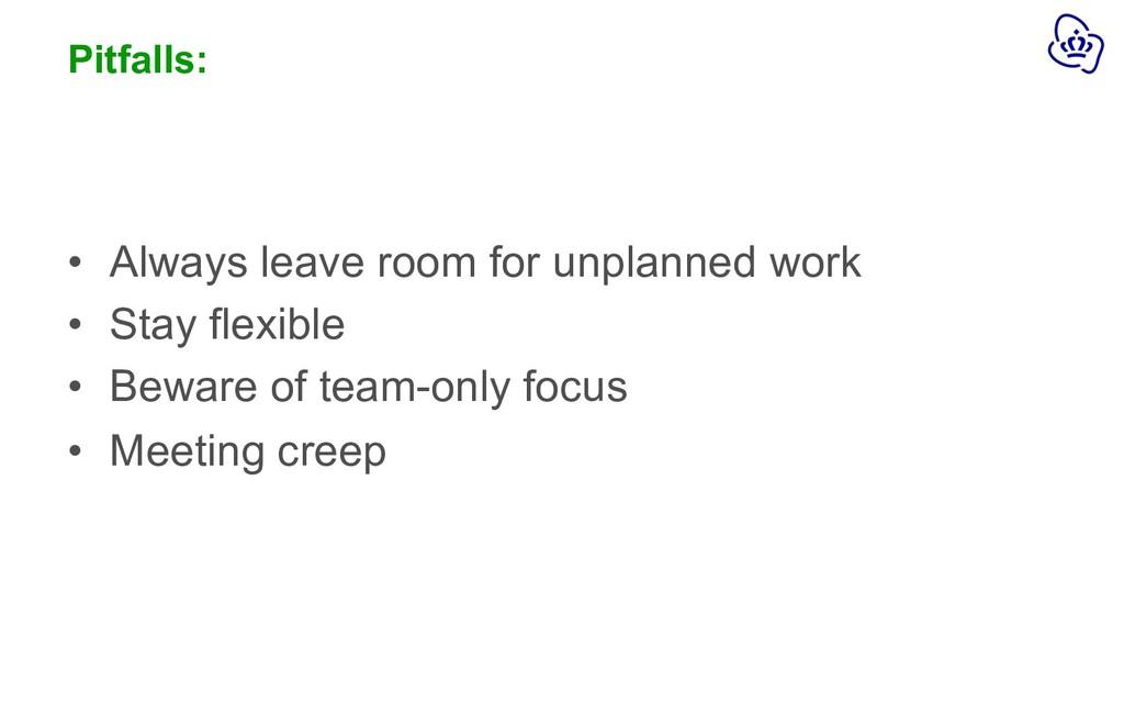 Pitfalls: • Always leave room for unplanned wor...