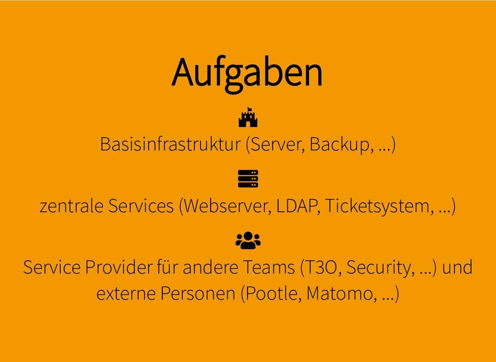 Aufgaben Aufgaben Basisinfrastruktur (Server, B...