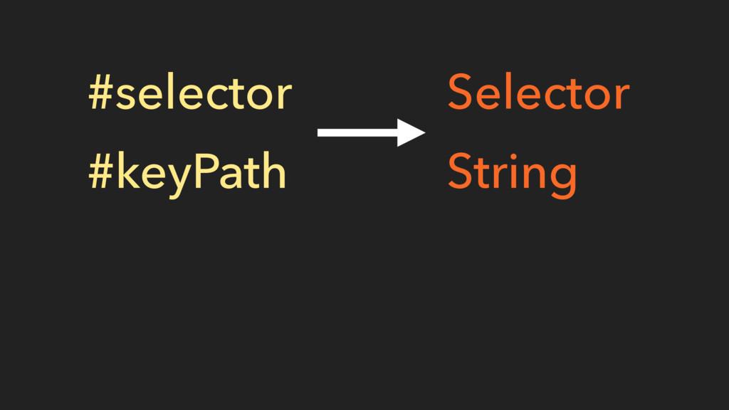 #selector #keyPath Selector String