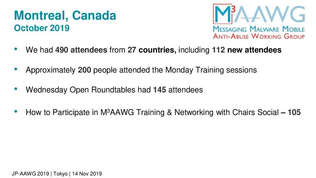 JP-AAWG 2019 | Tokyo | 14 Nov 2019 Montreal, Ca...