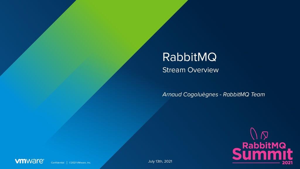 Confidential │ ©2021 VMware, Inc. RabbitMQ Strea...