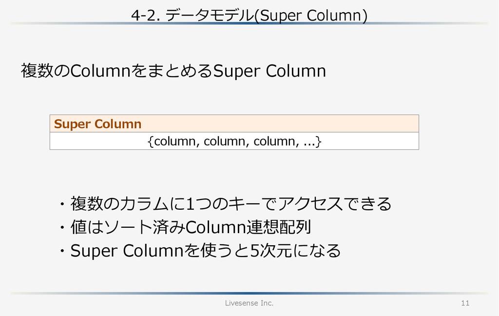 4-‐‑‒2. データモデル(Super Column) Livesense Inc. ...