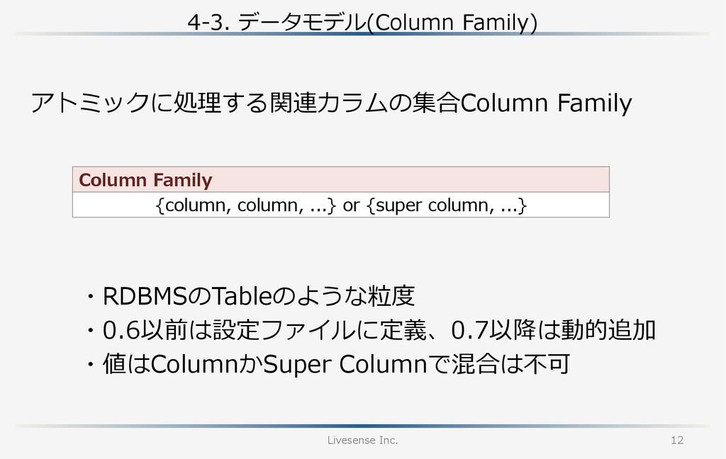 4-‐‑‒3. データモデル(Column Family) Livesense Inc....