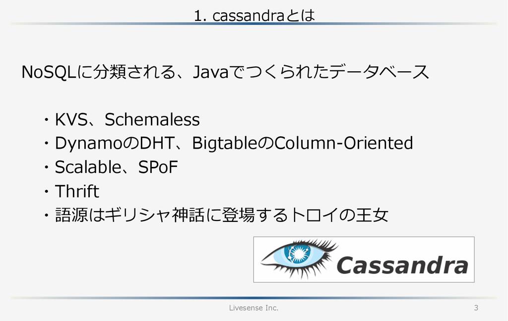 1. cassandraとは Livesense Inc. 3 ・KVS、Schemale...