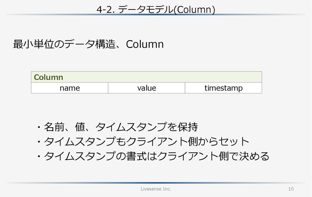 4-‐‑‒2. データモデル(Column) Livesense Inc. 10 最⼩小単...