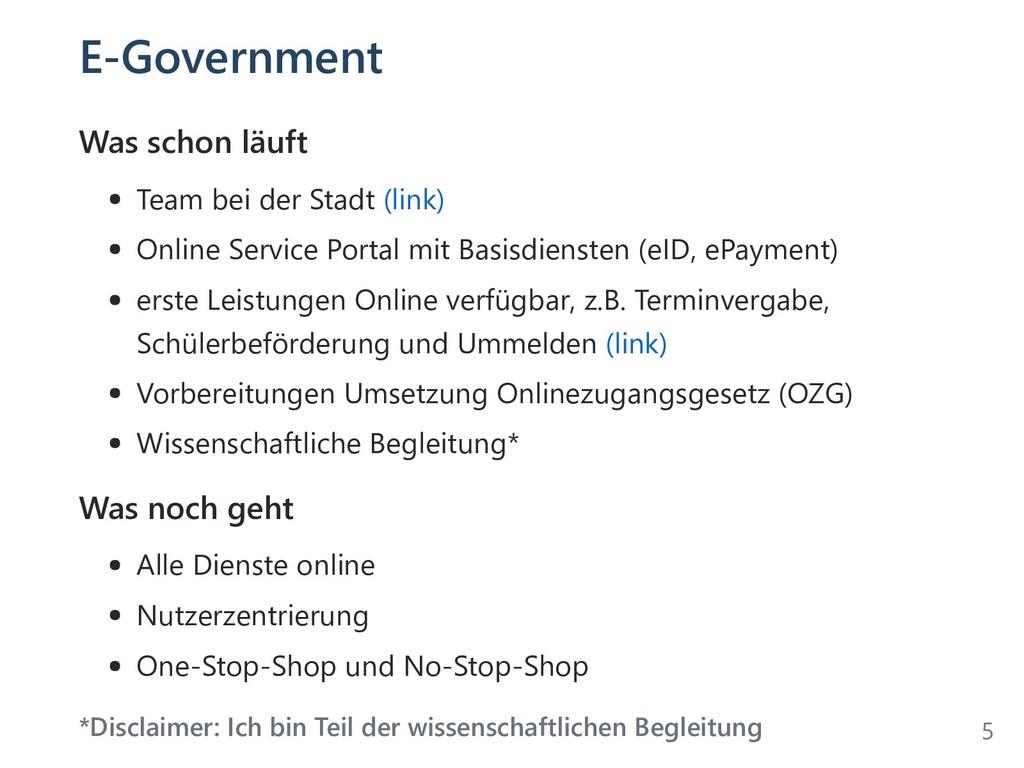 E-Government Was schon läuft Team bei der Stadt...