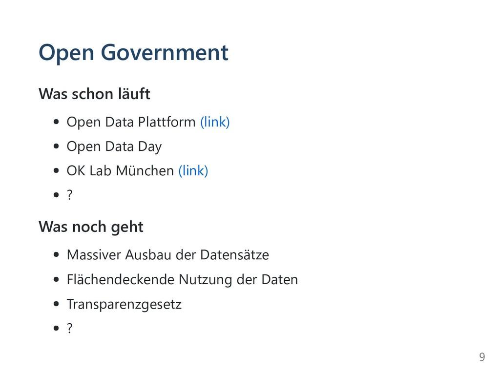 Open Government Was schon läuft Open Data Platt...