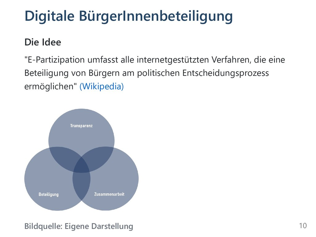 "Digitale BürgerInnenbeteiligung Die Idee ""E-Par..."