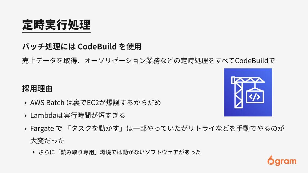 定時実⾏処理 バッチ処理には CodeBuild を使⽤ 売上データを取得、オーソリゼーション...
