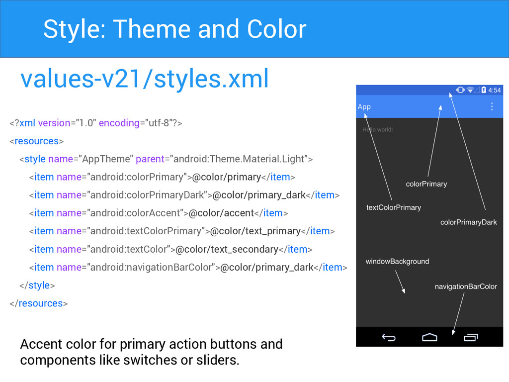 values-v21/styles.xml Accent color for primary ...