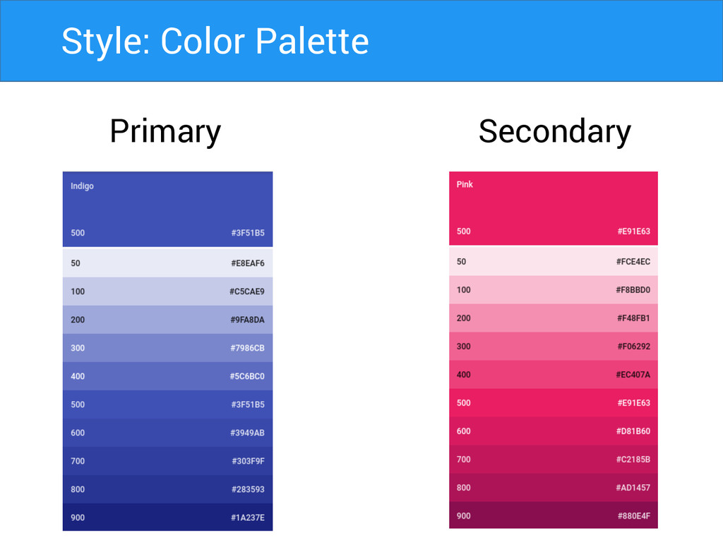 Primary Secondary Style: Color Palette