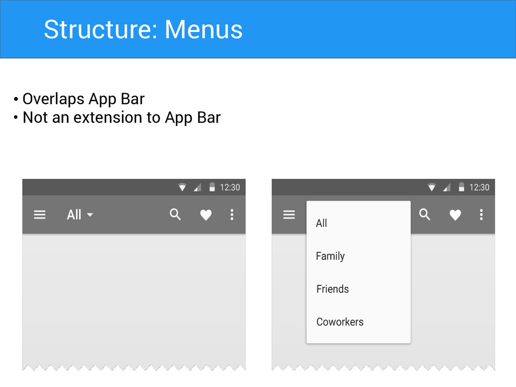 Structure: Menus • Overlaps App Bar • Not an ex...