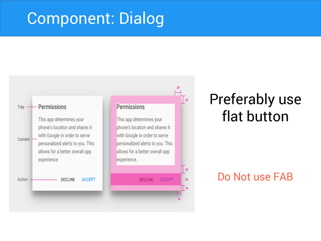 Preferably use flat button Do Not use FAB Compo...