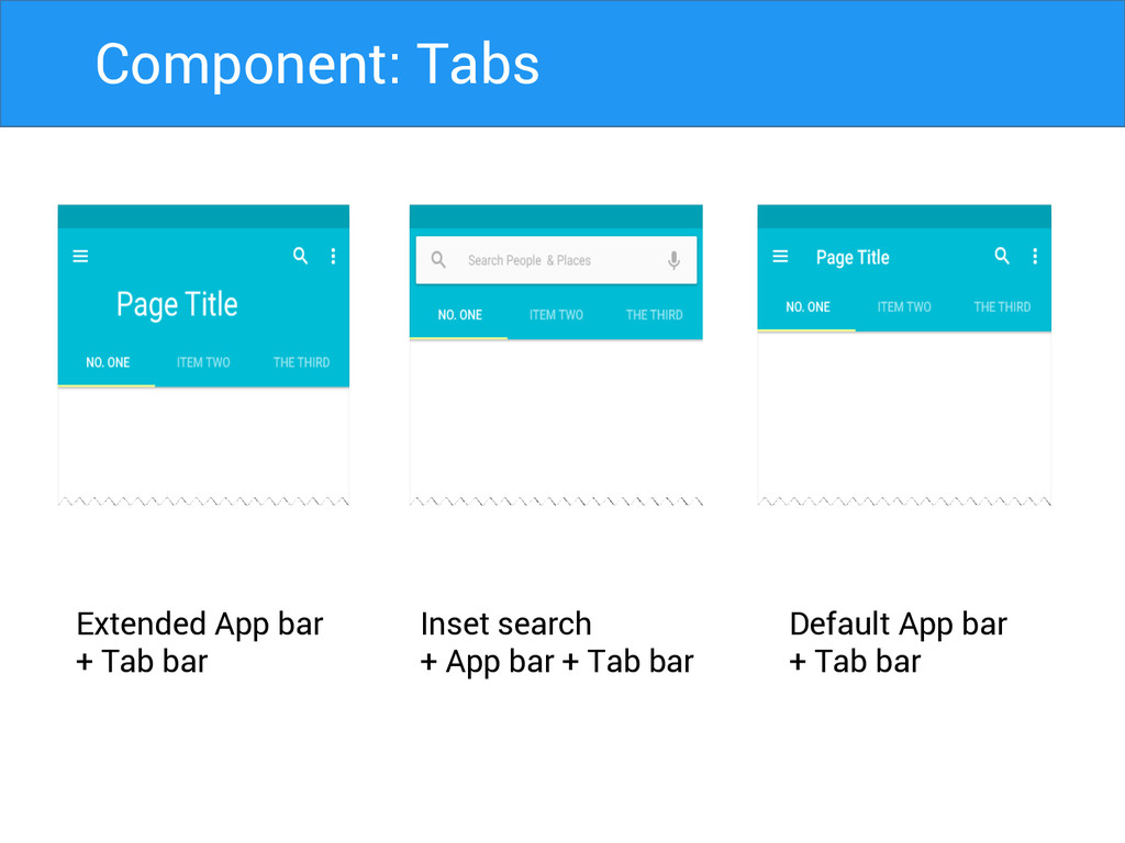 Extended App bar + Tab bar Inset search + App b...