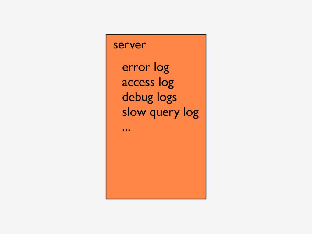 server error log access log debug logs slow que...