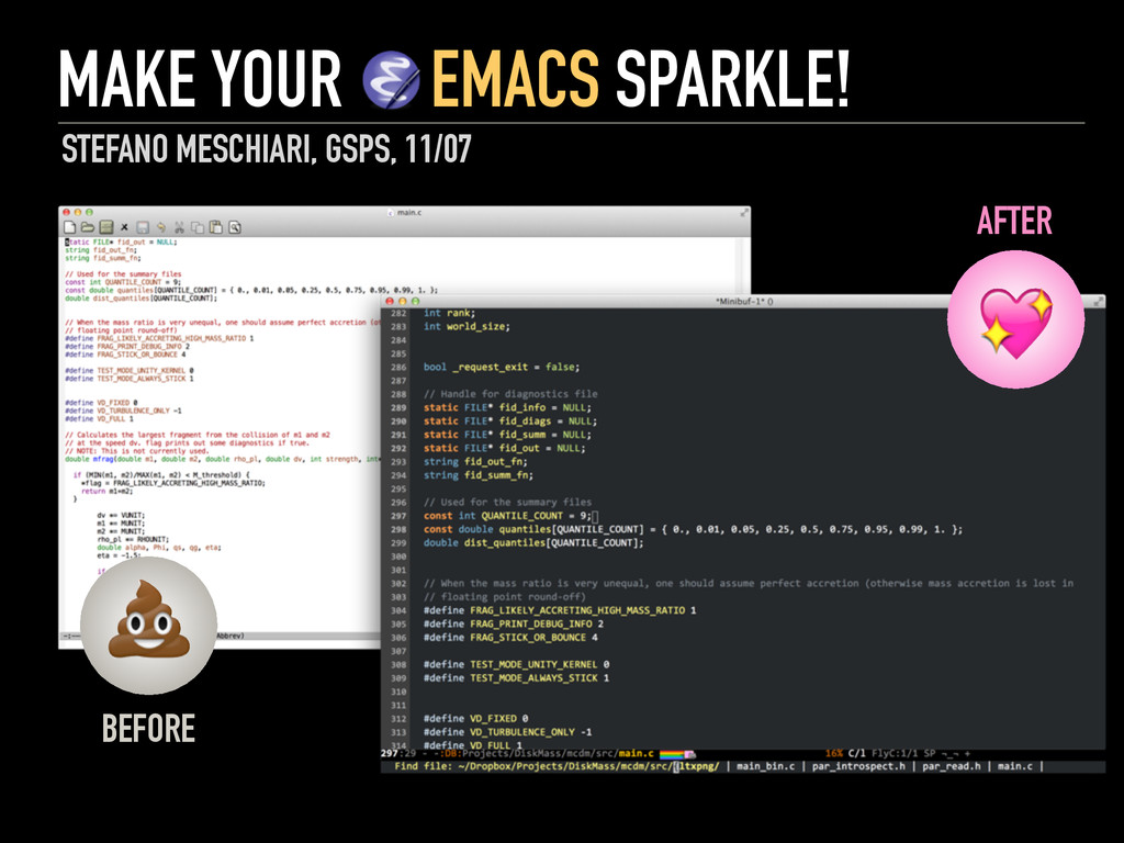 MAKE YOUR EMACS SPARKLE! STEFANO MESCHIARI, GSP...