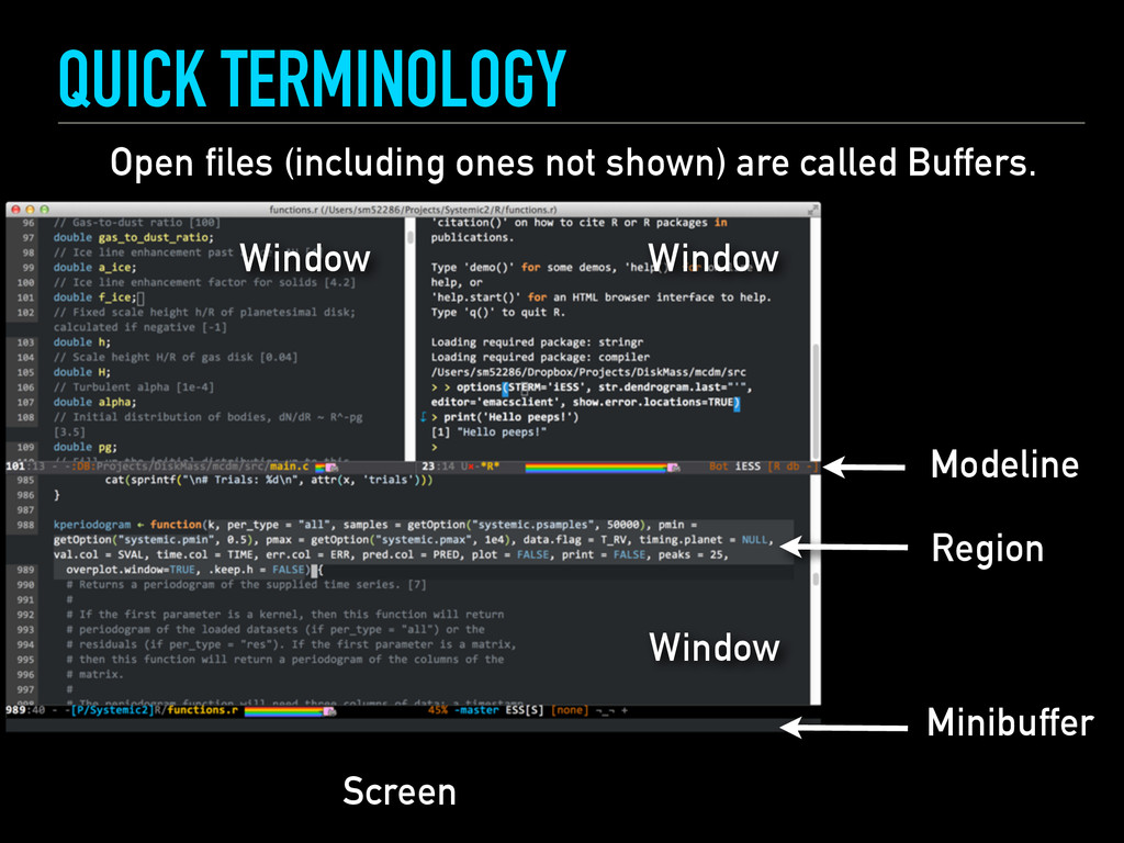 QUICK TERMINOLOGY Screen Window Modeline Open f...