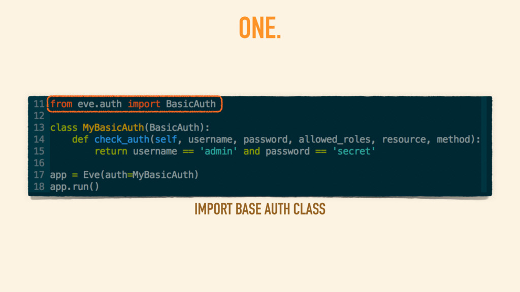 ONE. IMPORT BASE AUTH CLASS
